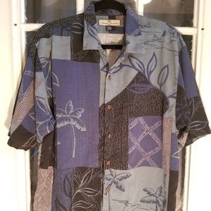 TOMMY BAHAMA Men's 100% Silk palms Shirt trees Med